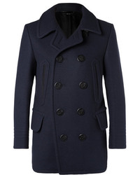 Tom Ford Leather Trimmed Felted Wool Blend Peacoat