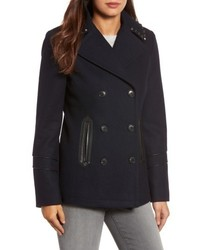 MICHAEL Michael Kors Michl Michl Kors Faux Leather Trim Wool Blend Peacoat