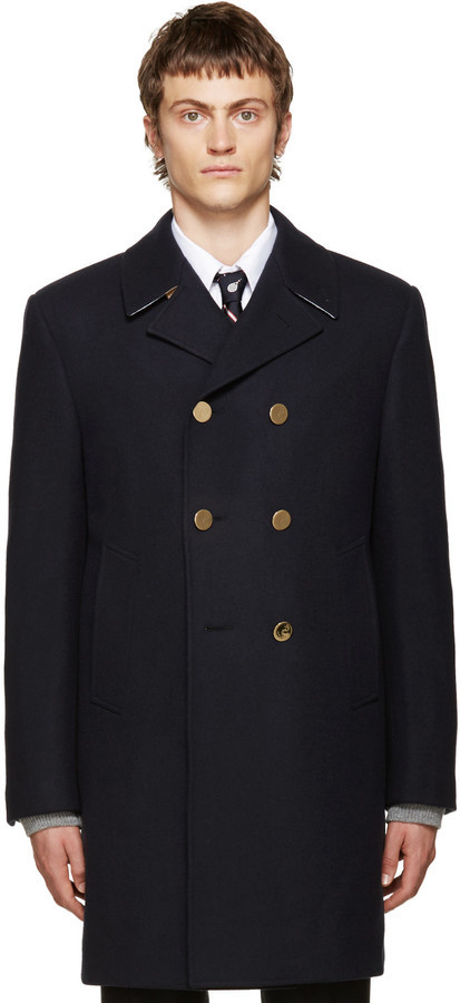 Thom Browne Navy Long Classic Peacoat | Where to buy & how to wear