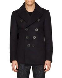 Burberry Neoprene Bonded Wool Cashmere Pea Coat Navy