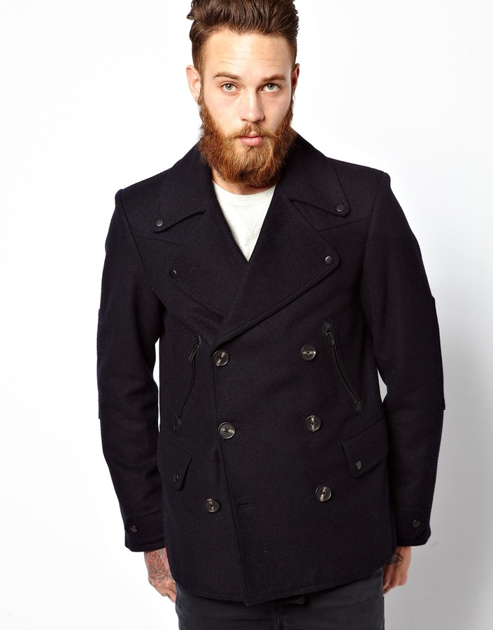 Asos Peacoat With Military Detail In Navy Navy | Where to buy ...
