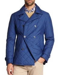Isaia Quilted Cotton Blend Peacoat