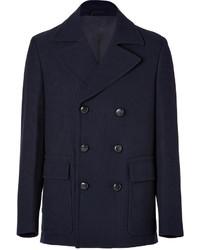 Maison Martin Margiela Ribbed Wool Cotton Double Breasted Pea Coat