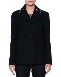 Rockstud trim double breasted peacoat navy medium 694780