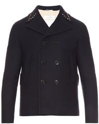 Valentino Rockstud Trim Wool Pea Coat