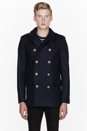 Saint Laurent Navy Blue Pea Coat | Where to buy &amp how to wear