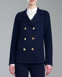 St. John Collection Double Breasted Milano Knit Pea Coat Navy
