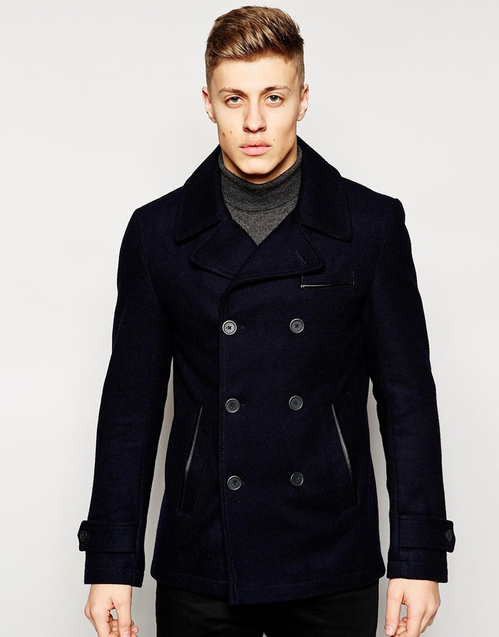 Stanley Adams Pu Trim Wool Pea Coat | Where to buy & how to wear
