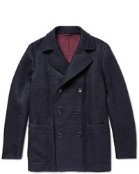 Loro Piana Suede Trimmed Double Faced Woven Cashmere Peacoat