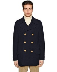 Lardini Techno Wool Knit Pea Coat