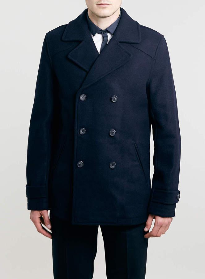Topman Navy Wool Blend Slim Pea Coat | Where to buy & how to wear