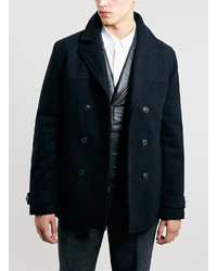 Topman Navy Wool Slim Fit Pea Coat