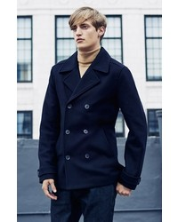 Topman Slim Fit Navy Double Breasted Peacoat   Where to buy &amp how