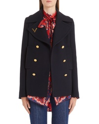 Valentino V Detail Double Face Wool Peacoat