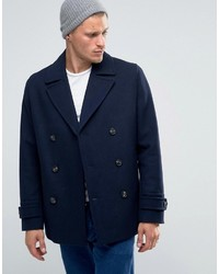 Asos Wool Mix Peacoat In Navy