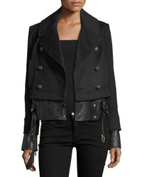 Veronica Beard Yara Double Breasted Pea Coat Jacket W Leather Hem