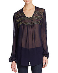 Karen kane embellished chiffon blouse medium 287005