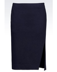 Armani Jeans Pencil Skirt In Cotton Blend With Split