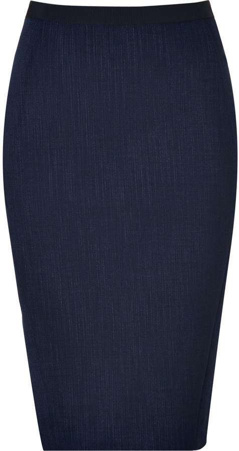 Donna Karan Dark Navy Wool Blend Pencil Skirt | Where to buy & how ...