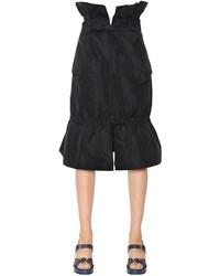 Jil Sander Navy Techno Taffeta Flared Pencil Skirt