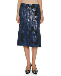 Marni Sequined Flowerbed Pencil Skirt Blue