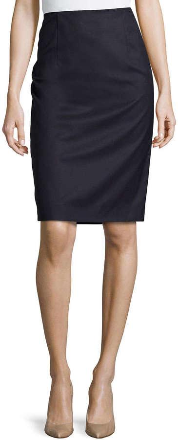 69807020bc Carolina Herrera Wool Pencil Skirt Navy, $790 | Neiman Marcus ...