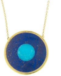 Jennifer Meyer Lapis Inlay And Turquoise Center Evil Eye Pendant Necklace Yellow Gold