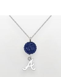 Logoart Atlanta Braves Sterling Silver Crystal Ball Pendant