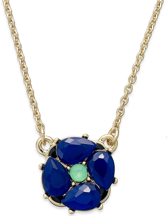 f3c4a4c244dc37 Kate Spade New York Gold Tone Floral Mini Pendant Necklace, $58 ...