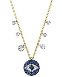 Sapphire and diamond evil eye necklace in 14k yellow gold 16 medium 437122