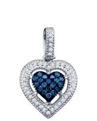 SEA Of Diamonds 021ct Blue Diamond Heart Pendant
