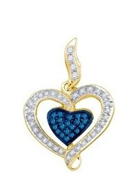 SEA Of Diamonds 027ct Blue Diamond Heart Pendant