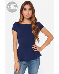 LuLu*s Lulus Keeping It Classy Navy Blue Peplum Top