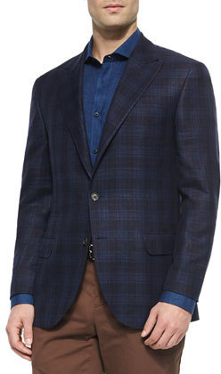 Brunello Cucinelli Madras Plaid Sport Jacket Navy | Where to buy ...