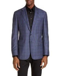 Giorgio Armani Classic Fit Plaid Wool Sport Coat
