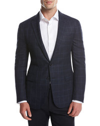 Ralph Lauren Glen Plaid Two Button Sport Coat Navybright Blue