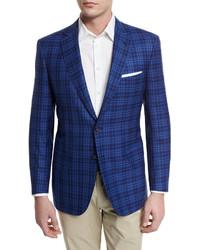 Large plaid two button sport coat high blue medium 594636