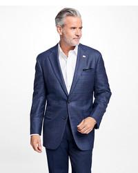 Brooks Brothers Madison Fit Saxxon Wool Plaid With Multi Deco Sport Coat