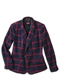 Merona Plus Size Long Sleeve Oxford Blazer Navy Plaid 26w