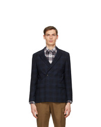 Z Zegna Navy Check Broken Suit Blazer