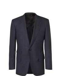 Kingsman Navy Slim Fit Prince Of Wales Checked Wool Suit Jacket