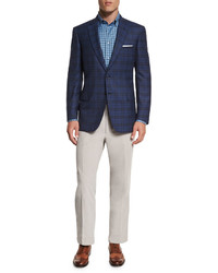 Brioni Plaid Two Button Sport Jacket Blue | Where to buy & how to wear