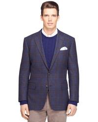Brooks Brothers Regent Fit Blue Plaid With Rust Deco Sport Coat