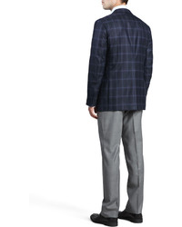 Ermenegildo Zegna Regildo Zegn Plaid Two Button Sport Coat Navy ...