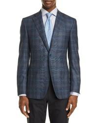 Canali Sienna Soft Classic Fit Plaid Wool Cashmere Sport Coat