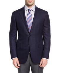 Windowpane check wool two button sport coat navy medium 664395