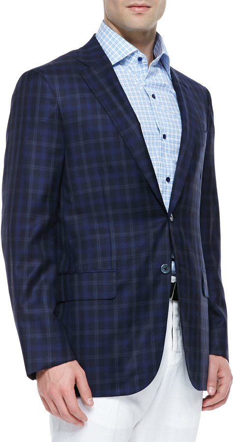 Isaia Woolsilk Plaid Sport Coat Blue | Where to buy & how to wear