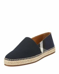 Burberry Pateman Canvas Check Espadrille Indigo Blue