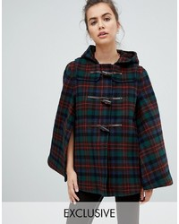 Gloverall Cape Duffle In Tartan And Red Check
