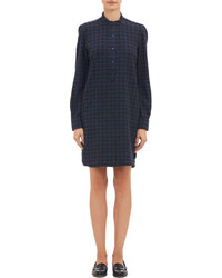 Navy Plaid Casual Dress